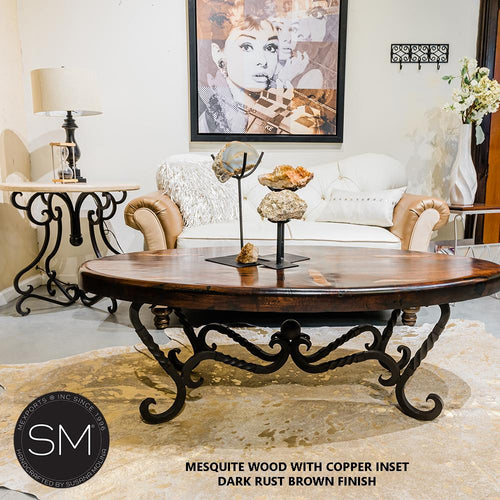 Western Mesquite Oval Table Made Wrought Iron-Mexports By Susana Molina-Mexports® Inc by Susana Molina