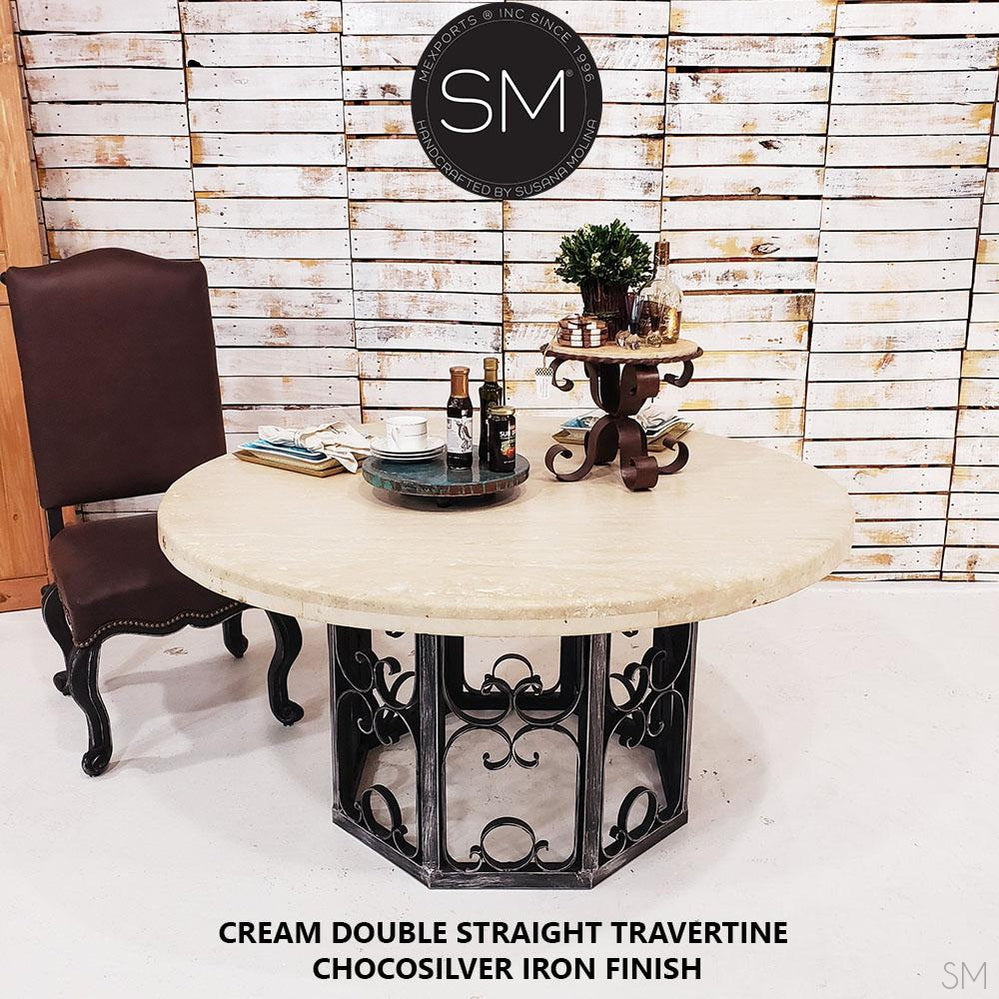Western Round Dining Table | Travertine | Wrought Iron - Mexports® Inc by Susana Molina