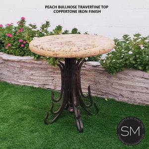 Western Small Occasional Table | Patio Travertine Chiseled | Wrought Iron-Mexports By Susana Molina-Mexports® Inc by Susana Molina