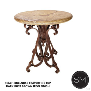 Wine Bar Rustic Furniture Travertine Outdoor Round Bar Table with Wrought Iron CUSTOMIZED AVAILABLE - Mexports® Inc by Susana Molina