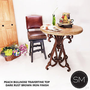 "Wine Bar Rustic Furniture Travertine Outdoor Round Bar Table with Wrought Iron-Kitchen & tall bar tables-Mexports By Susana Molina -38""-Peach Chiseled-Chocolate Espresso-Mexports® Inc by Susana Molina"