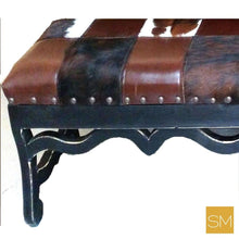 Ranch Style Bench Bodacious Cowhide & Chocolate Leather w/ Pinewood Legs-Mexports® Inc by Susana Molina -Mexports® Inc by Susana Molina