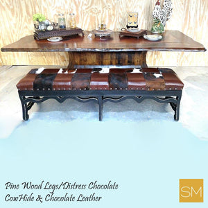 Wooden Bench Cowhide And Chocolate Leather-Mexports® Inc by Susana Molina -Mexports® Inc by Susana Molina