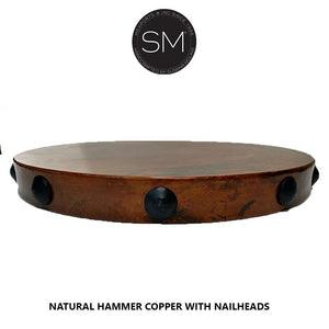 Wrought Iron Designs- End Table with Natural Hammer Copper Top-Mexports By Susana Molina-Mexports® Inc by Susana Molina