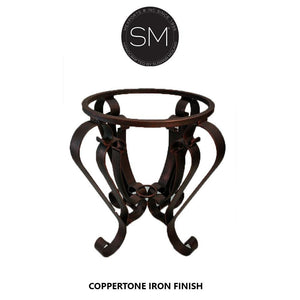 Wrought Iron Designs- End Table with Natural Hammer Copper Top-Ocasional tables, side tables & foyer tables-Mexports By Susana Molina-Natural Hammer Copper-Dark Rust Brown-Mexports® Inc by Susana Molina