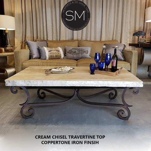 Wrought Iron Table Rectangular Travertine Cream Top-Mexports By Susana Molina-Mexports® Inc by Susana Molina