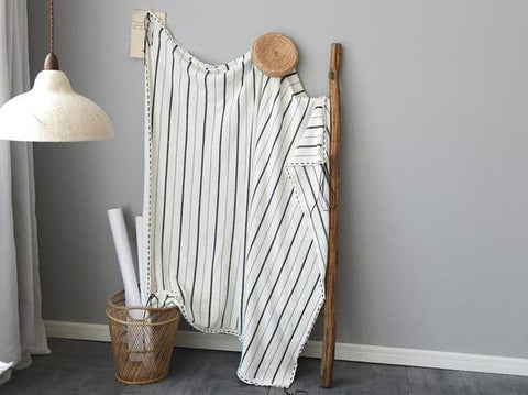 Photograph of a monochrome striped throw
