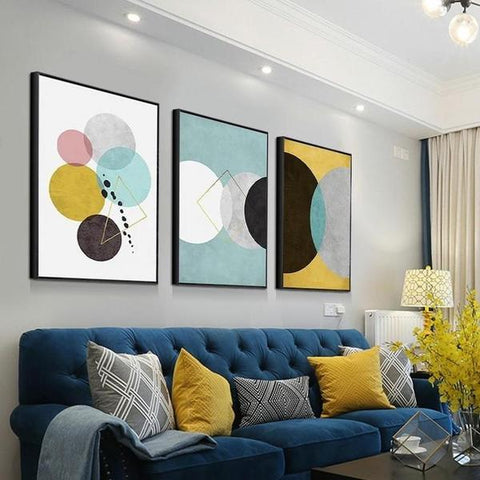Modern art abstract painting in a room