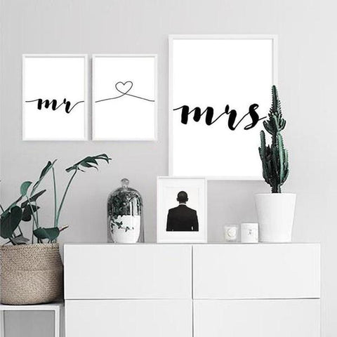 Photograph of Mr and Mrs canvas painting in a minimalist set up