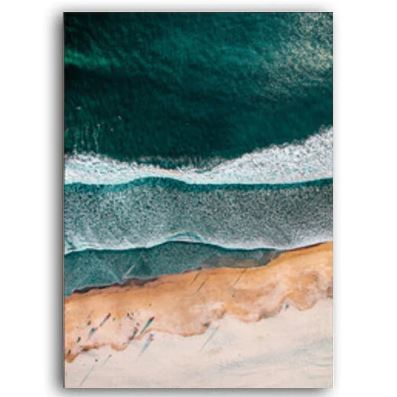 Calm Beach and Monstera Leaves Canvas Art Prints