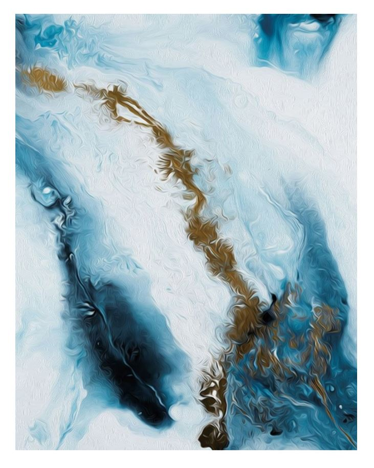 Abstract Blue Ice Capped Mountain and Ocean Canvas Art Prints