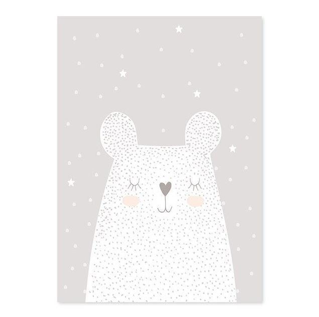 Big White Bear And Rabbit Nursery Poster Canvas Art Prints