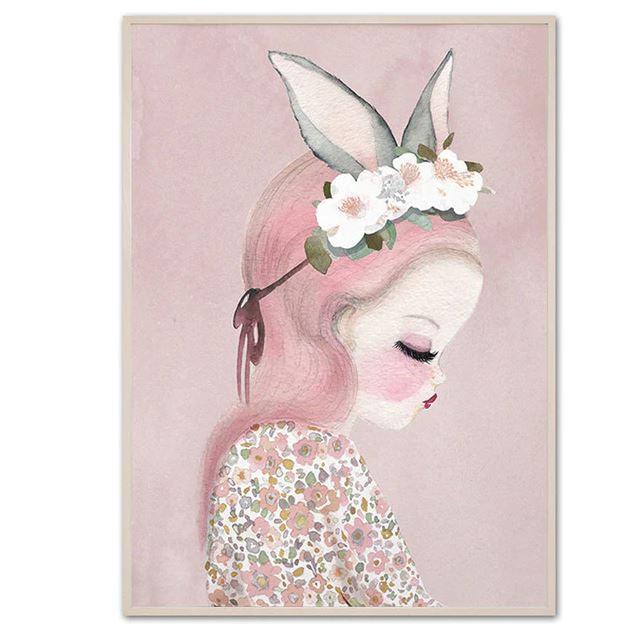 Sweet Pink Unicorn And Girls Canvas Prints