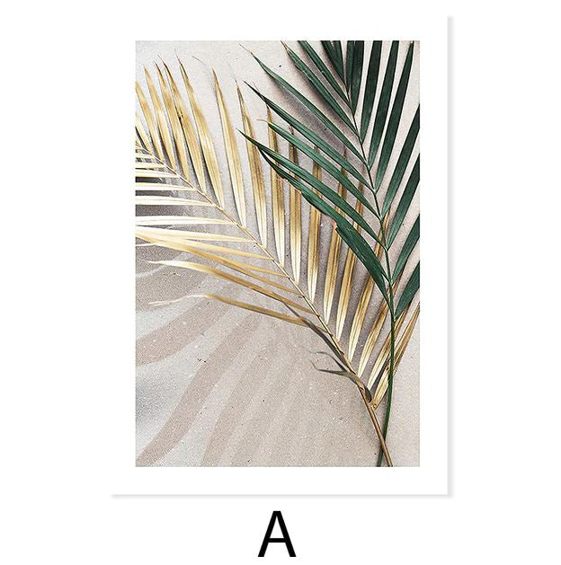 Desert and Palm Tree Leaves Canvas Art Prints