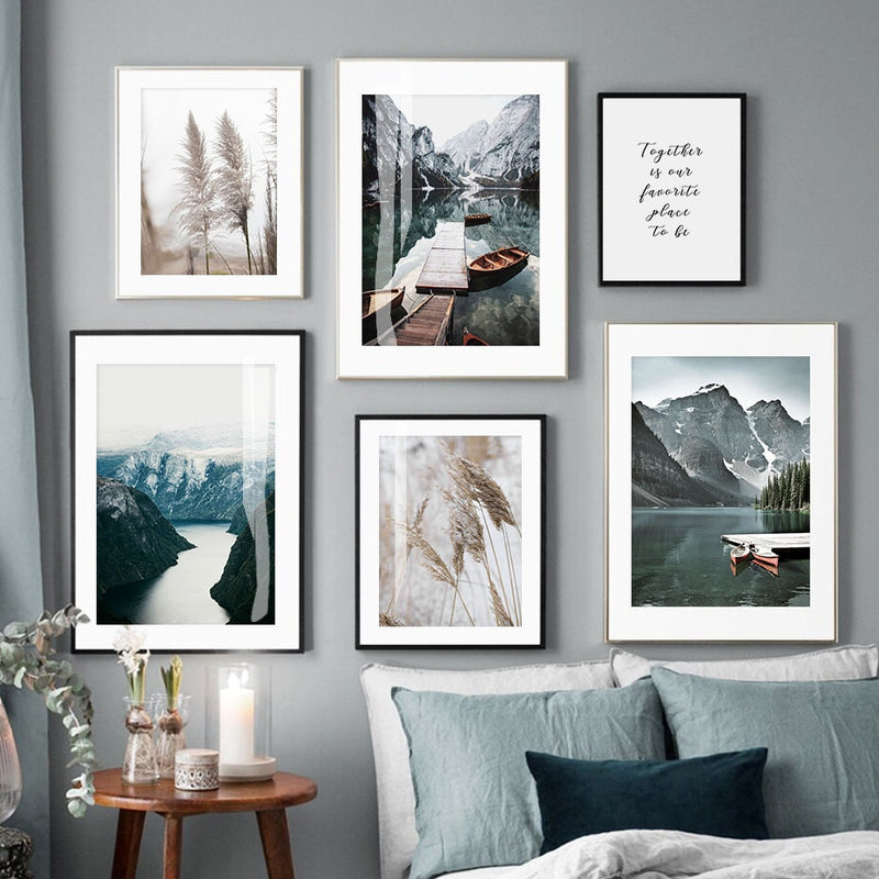 Mountain Lake And Reed Canvas Art Prints