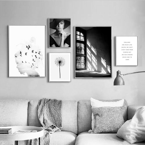 Black White Window Girl Portrait Canvas Art Prints