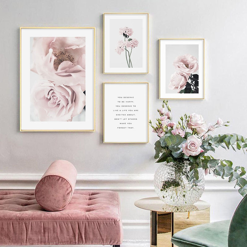 Do It With Love Pink Flowers Canvas Art Prints