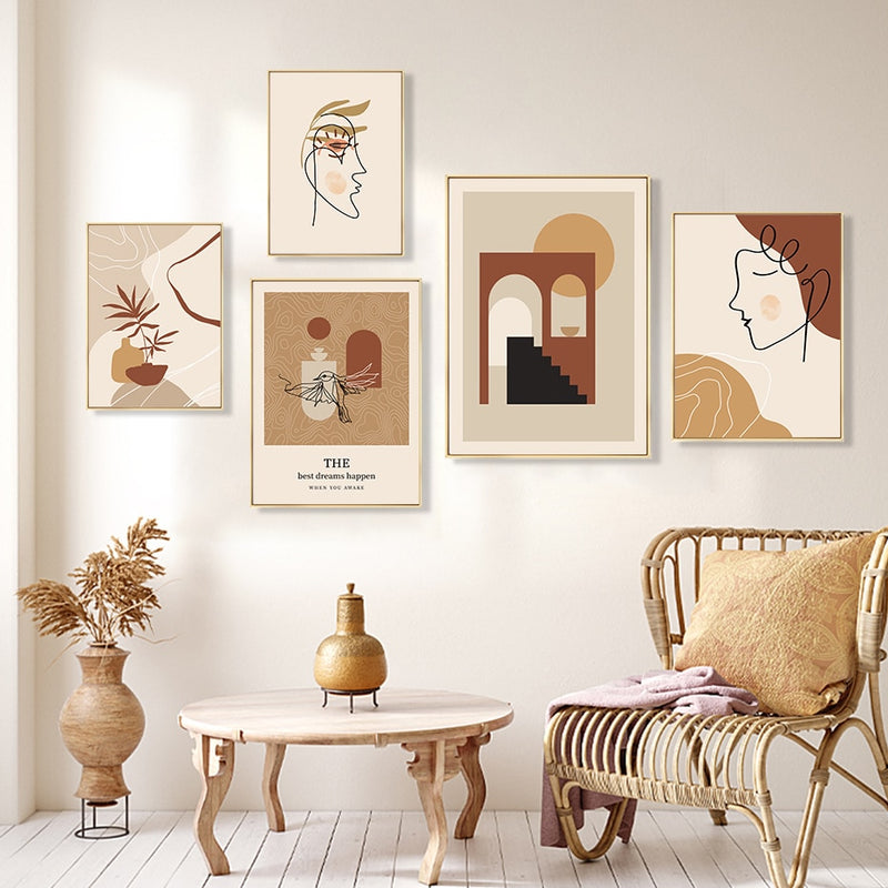 Beige And Terracotta Color Abstract Line Art Canvas Prints