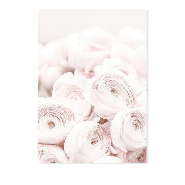 Elegant Pink Flowers And Love Canvas Art Prints