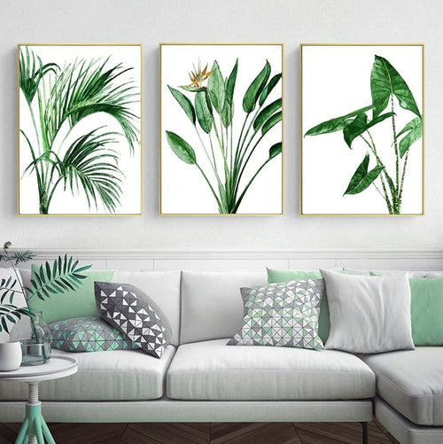 Watercolor Green Leaves Canvas Art Prints