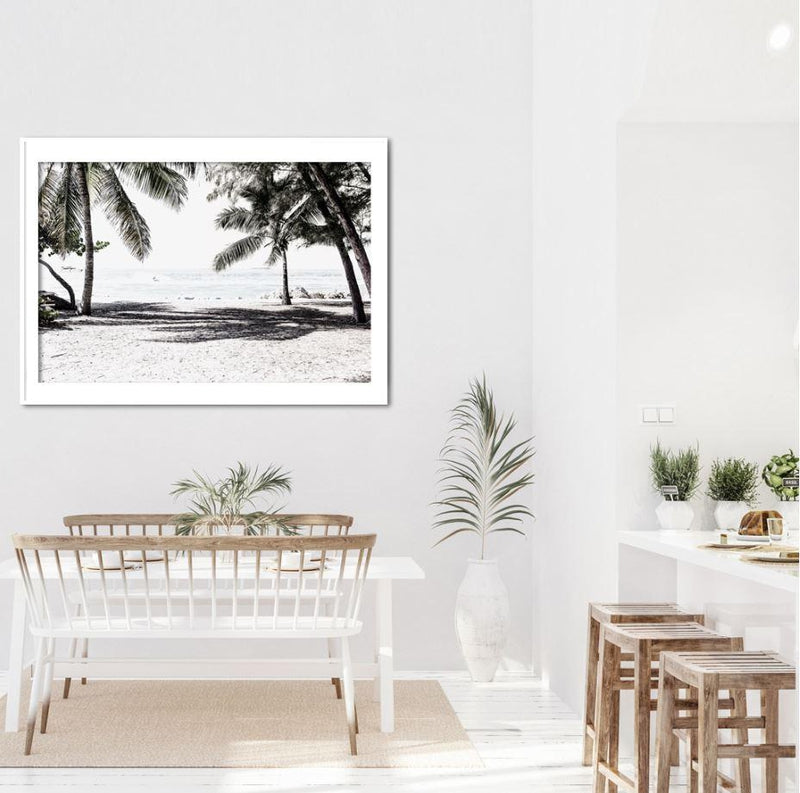 White Beach And Palm Trees Art Print-Heart N' Soul Home