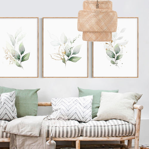 Elegant Watercolor Flower Trio Canvas Art Prints
