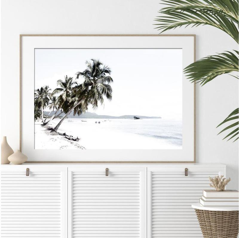 White Ocean Mountain And Palm Trees Canvas Art Prints