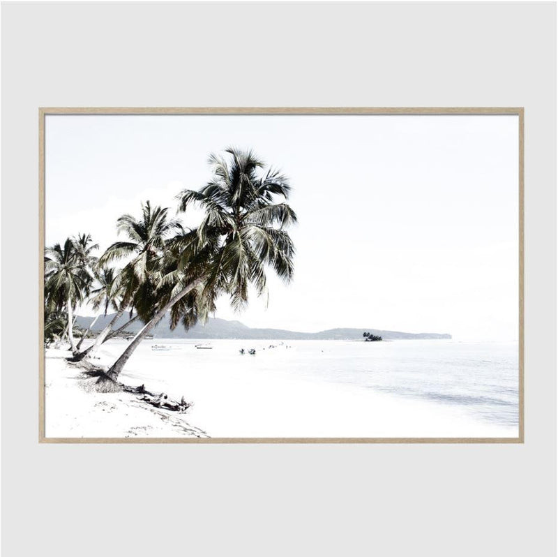 White Ocean Mountain And Palm Trees Art Print-Heart N' Soul Home