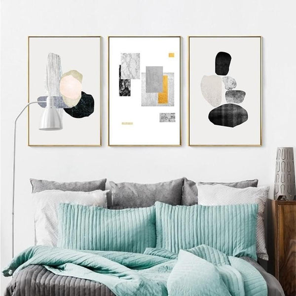 Abstract Art Grey Scale and Colorful Canvas Painting Prints-Heart N' Soul Home-Heart N' Soul Home