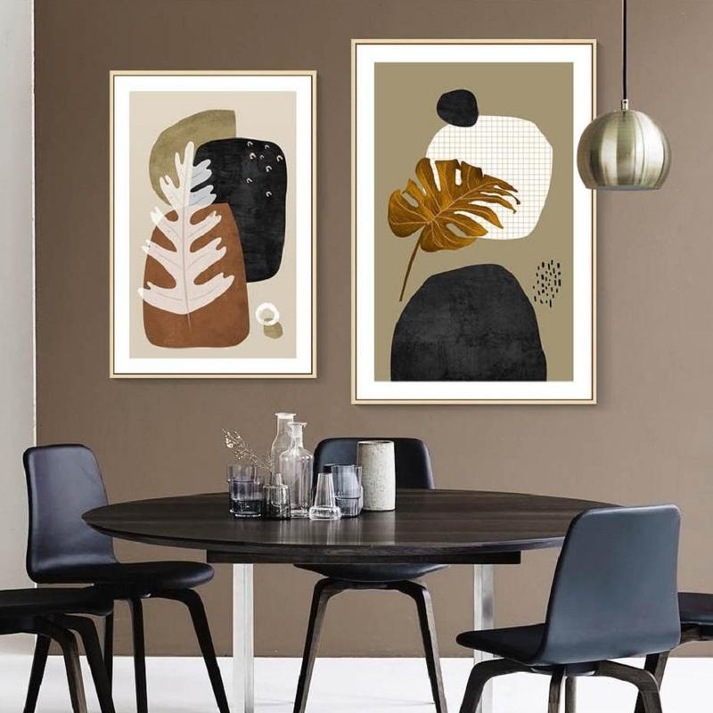 Abstract Art Monstera Leaves Canvas Painting Prints-Heart N' Soul Home-Heart N' Soul Home