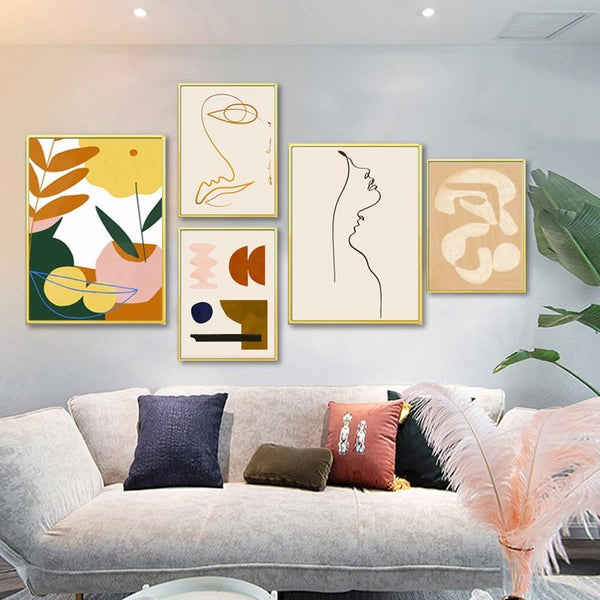 Abstract Art Woman Outline Geometric Pattern Canvas Painting Prints-Heart N' Soul Home-Heart N' Soul Home