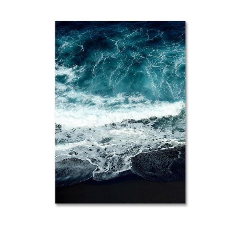 Abstract Blue Ice Capped Mountain and Ocean Canvas Prints-Heart N' Soul Home-10x15cm no frame-Ocean-Heart N' Soul Home