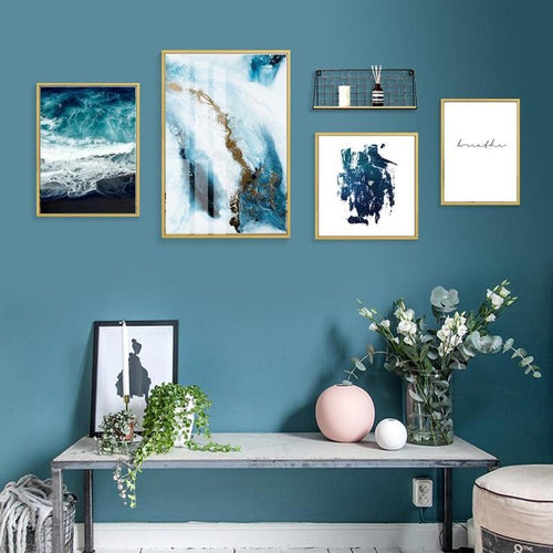 Abstract Blue Ice Capped Mountain and Ocean Canvas Prints-Heart N' Soul Home-Heart N' Soul Home