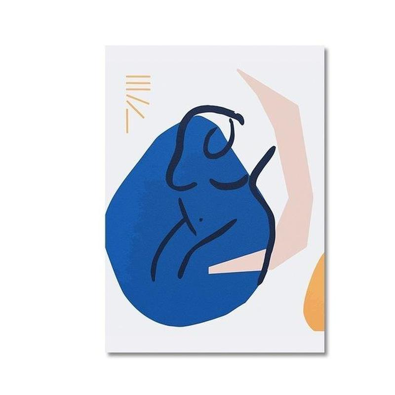Abstract Figure Outline Canvas Painting Prints-Heart N' Soul Home-10x15 cm no frame-Blue Body-Heart N' Soul Home