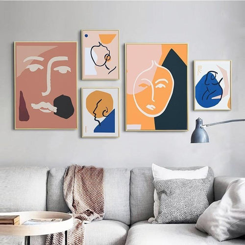 Abstract Figure Outline Canvas Painting Prints-Heart N' Soul Home-Heart N' Soul Home