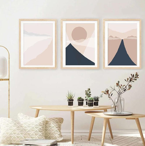 Abstract Mountain Sun Landscape Canvas Prints-Heart N' Soul Home-Heart N' Soul Home