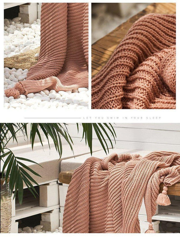 Adalynn Knitted Tassel Throw-Heart N' Soul Home-Heart N' Soul Home