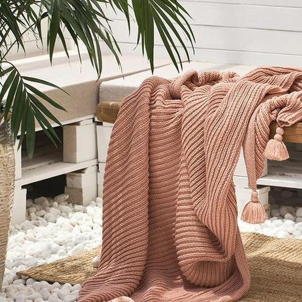 Adalynn Knitted Tassel Throw-Heart N' Soul Home-Soft Pink-130*160CM-Heart N' Soul Home