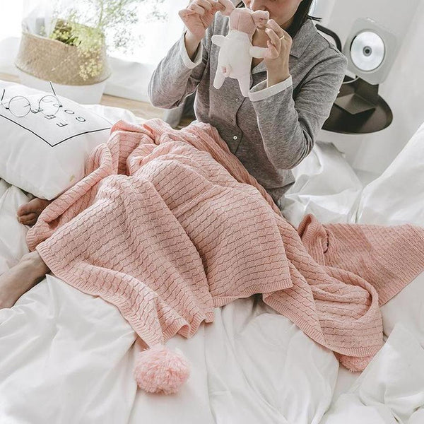 Alice Pom Pom Throw ( 4 Colors Available )-Heart N' Soul Home-Light pink-130x170cm-Heart N' Soul Home