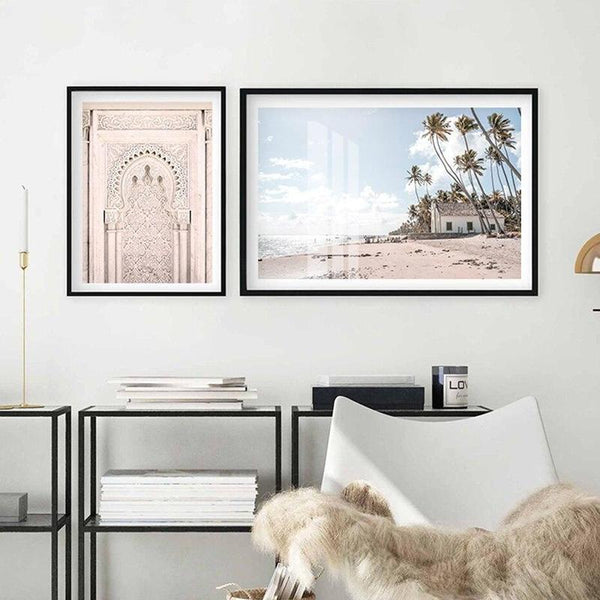 Ancient Door And Beach House Canvas Prints-Heart N' Soul Home-Heart N' Soul Home