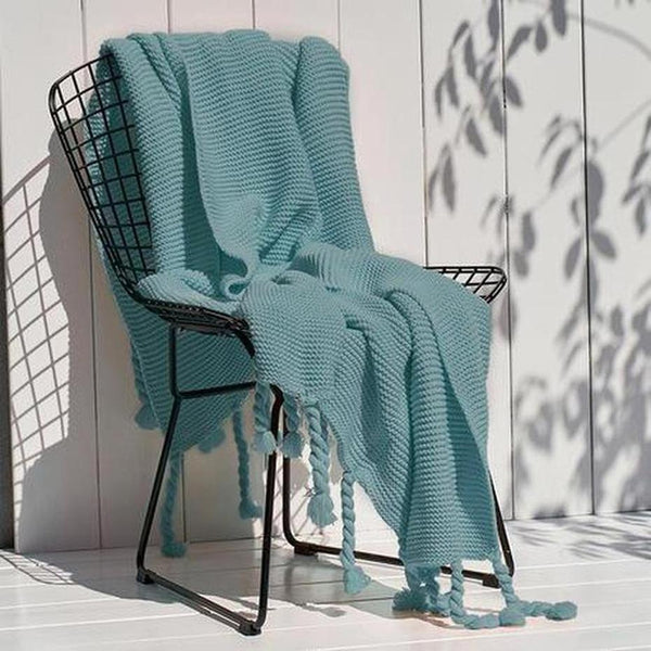 Ava Knitted Tassel Throw £¨8 Colors Available )-Heart N' Soul Home-Soft Green-130x170cm-Heart N' Soul Home