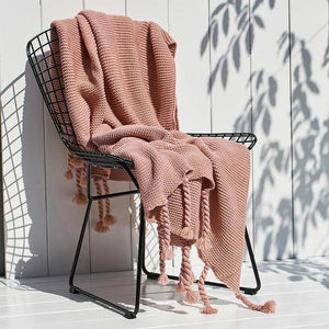 Ava Knitted Tassel Throw (8 Colors Available )-Heart N' Soul Home-Soft Pink-130x170cm-Heart N' Soul Home