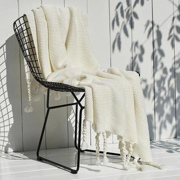 Ava Knitted Tassel Throw £¨8 Colors Available )-Heart N' Soul Home-White-130x170cm-Heart N' Soul Home