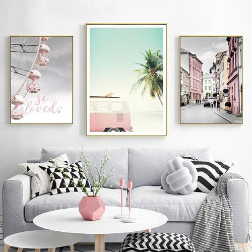 Beach Town Canvas Painting Prints-Heart N' Soul Home-Heart N' Soul Home