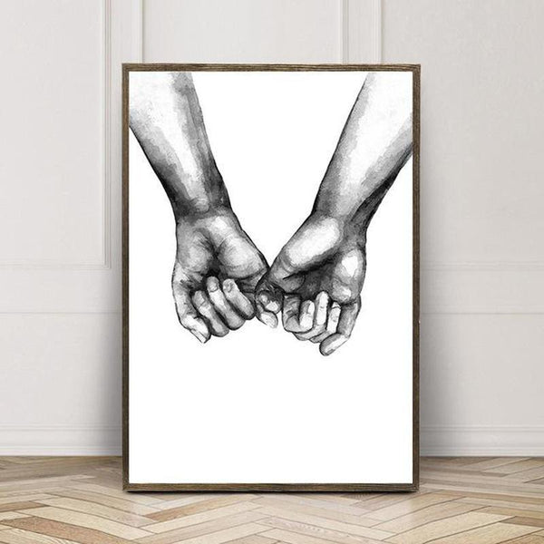 Black And White Holding Hands Canvas Prints-Heart N' Soul Home-21x30cm No frame-A-Heart N' Soul Home
