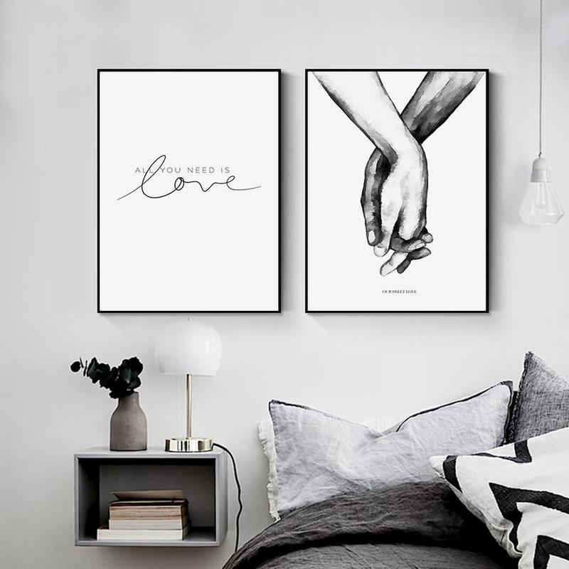 Black And White Holding Hands Canvas Prints-Heart N' Soul Home-Heart N' Soul Home