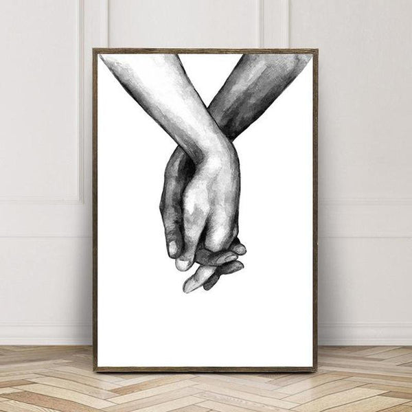 Black And White Holding Hands Canvas Prints-Heart N' Soul Home-50x70cm No frame-C-Heart N' Soul Home