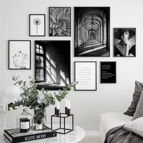 Black White Window Girl Portrait Canvas Painting Prints-Heart N' Soul Home-Heart N' Soul Home