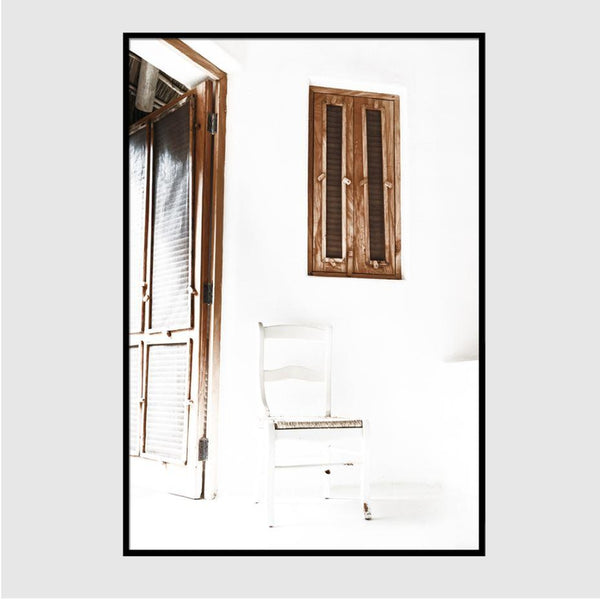 Chair Near The Wooden Door Art Print-Heart N' Soul Home