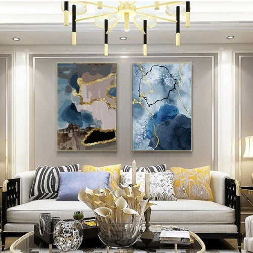 Blue Gold Abstract Art Canvas Painting Prints-Heart N' Soul Home-Heart N' Soul Home